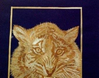 Tiger The BIG cat done with rice straw. Cat lovers collectible art Handmade,signed art unique collectible art only one made great gift