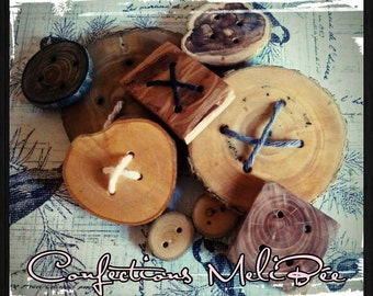 Wood button variety pack (up to 15 buttons) * Paquet de boutons de bois variés (jusqu'a 15 boutons)