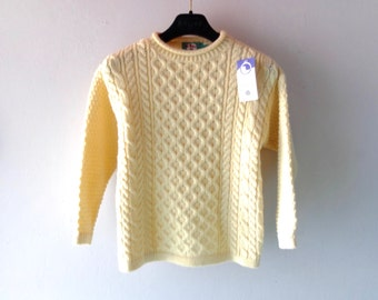 Child Size 7 8 Unisex Boys Girls Fisherman Mac Baaaa Aran Knit Sweater - Made in Scotland - NWT Vintage - Christmas Holiday Gift Chidren's