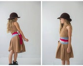 That Belt Skirt in caramel and red / Wrap Skirt