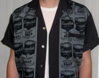 Men's Rockabilly Shirt Jac Campbell's Soup Andy Warhol Pop Art