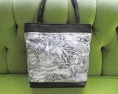 Horse and Hound Hunting Scene in Black and White Toille with Black Canvas Tote