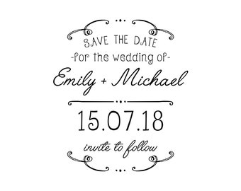 Emily and Michael Series Save the Date stamp