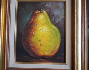 Still Life Painting of a Pear - Oil on Canvas