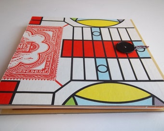 Parcheesi Sketchbook with watercolor papers, up-cycled game board, art sketchbook, hand-bound journal
