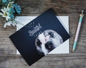 Life is beautiful 5x7 blank pit bull card