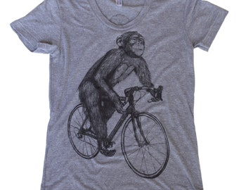 Chimpanzee on a  Bicycle- Womens T Shirt, Ladies Tee, Tri Blend Tee, Handmade graphic tee, sizes s-xL