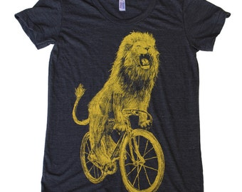Ladies T Shirt - Lion on a Bicycle - American Apparel Tri-Blend Track T