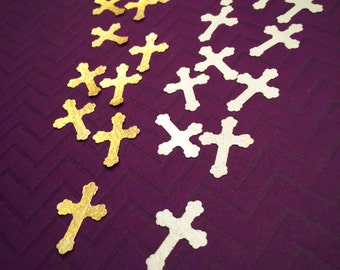24 Super Metallic Edible Wafer Paper Cross Cutouts Baptism/Communion/Confirmation 1""