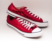 Ready 2 Ship | Size 11 WMNS / MENS 9 Red Sequin Customized Converse Low Top Sneakers Shoes
