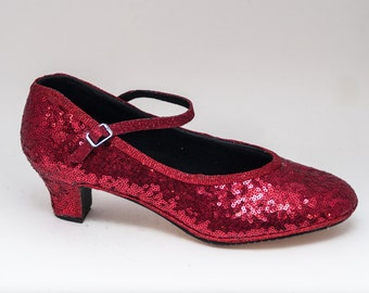 Sequin French Scoop Two Inch Heels Character Shoes with Red