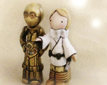 Luke Skywalker Poppet and C3PO Poppet Set  - #9 of a Very Limited Edition of 50- Lisa Snellings