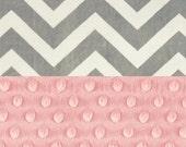 SALE CIJ Minky Baby Blanket Girl, Blush Pink & Silver Gray Chevron Personalized Baby Blanket,  Stroller Blanket - Nursery Decor Girl