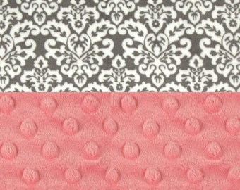 Personalized Baby Blanket, Minky Baby Blanket Girl, Coral Gray Damask Baby Blanket, Receiving Blanket, Name Baby Blanket, Baby Gift
