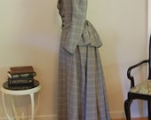 Victorian inspired walking dress plaid skirt lace bodice jacket steampunk