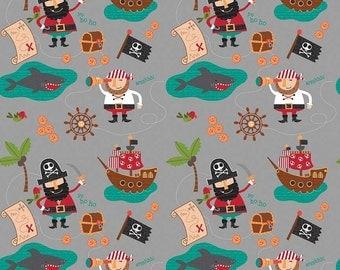 Blackbeard's Pirates Gray Bacground by Riley Blake- C5030- So Cute! Ships, Shark