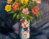 Floral Still Life Oil Painting, Vintage Original Still Life Flowers In A Vase by Marina Petro