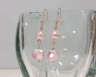 Simple Rose Gold & Pearl Dangle Earrings