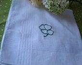 Irish Hankerchief Set of 2- Hand Embroidered Shamrock-Dad Grampa Mom Grandma gift