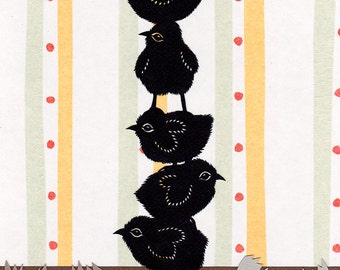 Stack-O-Chicks - 8 X 10 inch Cut Paper Art Print