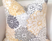 Gray Yellow Pillow Cover Decorative Throw Pillow Cushion Accent Pillow Grey Floral Pillow