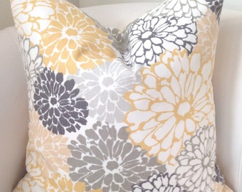 Gray Yellow Pillow Cover Decorative Throw Pillow Cushion Accent Pillow Grey Floral Pillow