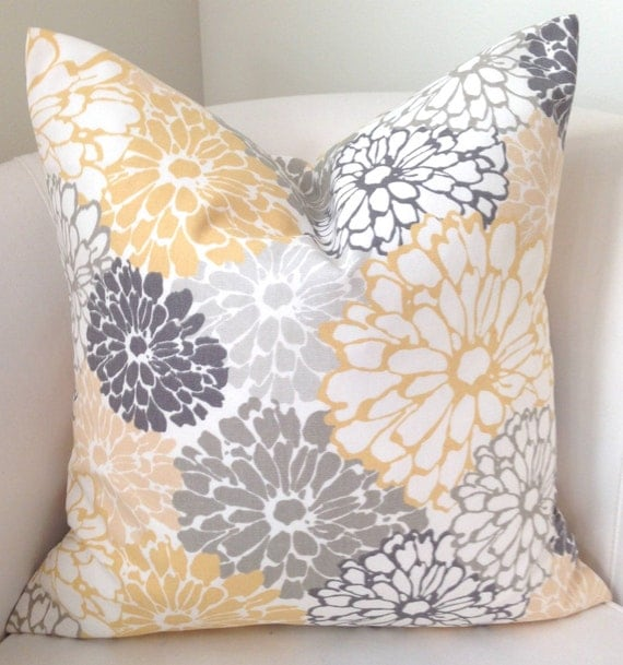 gray yellow pillow cover decorative throw pillow