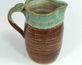 Ceramic Pitcher -  Honey Brown and Green  Ready to Ship- In-Stock