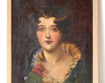 Antique English Woman Portrait Painting Oil on Canvas