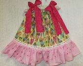 Valentine Hearts Girls Dress 12M/18M Yellow Pink Hearts Flowers Boutique Pillowcase Dress