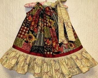 Fall/Thanksgiving Girls Dress 12M-18M Scarecrows, Sunflowers, Leaf Cream Pillowcase Dress, Pillow Case Dress