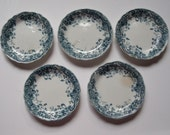 "5 Small Butter Pats Blue and White Floral Design, ""Eureka"", England"