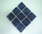 Cobalt Blue Square Mosaic Tiles-Embosses Decorative Mosaic Tiles