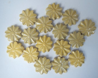 Yellow Mosaic Flower Tiles-Stoneware Flower Tiles-.75 cents each