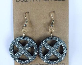 Glitter X-Men logo earrings