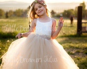NEW! The Grace Dress in Ivory and Champagne with Deluxe Rhinestone Sash