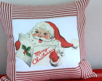 Retro Santa Christmas Pillow with Red Ticking Stripes - Free Shipping