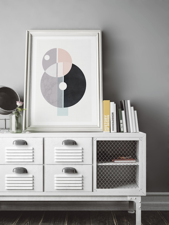 BEAUTIFUL MESS // poster Abstract art, 18x24, minimalist, geometric print, Scandinavian, mid century, minimalism, marble, circles, vintage