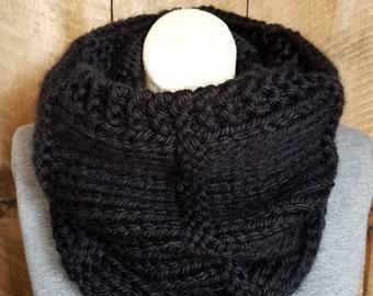 Black Knit Cowl, Bohemian Fashion, Winter Scarf, Knit Scarf, Black Cowl, Hand Knit Cowl, Boho Chic, Chunky Knit, bailybelle