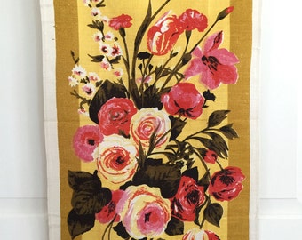 Floral Linen Tea Towel Linen Still Life Flower Arrangement NOS Varitex