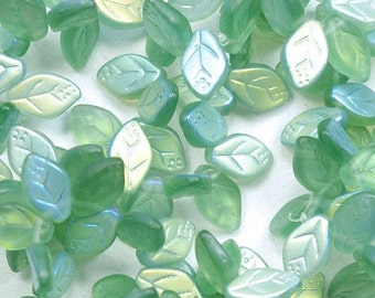 Matte Green AB Leaf Beads Top Drilled Czech Glass 8x12mm - 25
