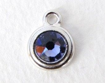 Silver Birthstone Charm December Swarovski Crystal Tanzanite Rhinestone Rhodium Drop TierraCast Finding chm0645 (1)