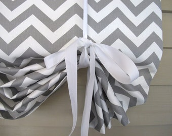 Gray White Chevron 60 Inch Long Stage Coach Blind Swedish Roll Up Shade Tie Up Curtain Swag Balloon
