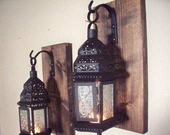 Clear glass Moroccan lantern pair wall decor (2), wall sconces, housewarming gift, bathroom decor, wrought iron hook, rustic wood boards