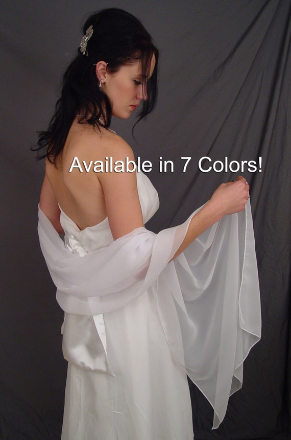 Chiffon bridal wrap wedding shawl scarf cover up long shrug stole CW200 (7 COLORS white, ivory, champagne, gray, pink, navy blue, black)