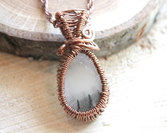 One Of A Kind Handmade Copper Wire Wrap multi colors Sea glass in the cage Pendant on antique copper color rope style chain Necklaces A6