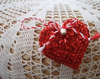 Red Sequin Heart Hanging Seasonal Decoration