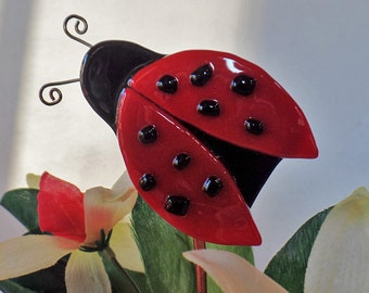 Lady bug, Fused Glass, Flower Stake, Plant Stakes, Plant stick