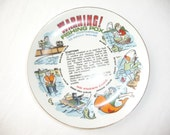 Fishing Plate, Warning Fishing Pox, Vintage Plate, Humorous Plate, Very Contagious to Adult Males, Fishing Joke, Decorative, Wall Hanging