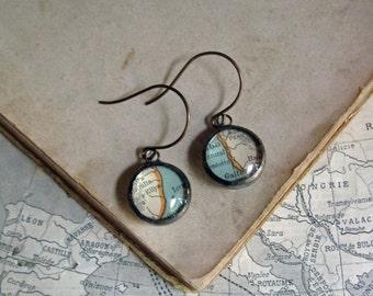 Recycled Scrap Map Glass Bubble Earrings Boho Jewelry